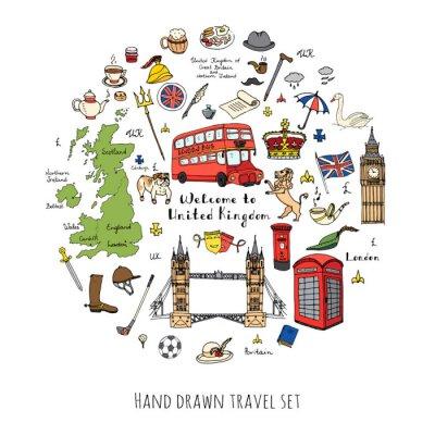 Vinilo Doodle dibujado a mano Reino Unido conjunto Ilustración vectorial iconos de Reino Unido Bienvenido a elementos de Londres Colección de símbolos británicos Té Autobús Equitación Golf Corona Cerveza Leó
