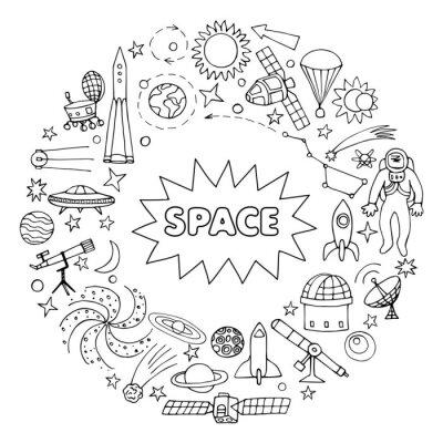 Vinilo Doodle espacio elementos