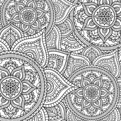Vinilo Doodle pattern with ethnic mandala ornament. Black and white illustration. Outline. Coloring page for coloring book.
