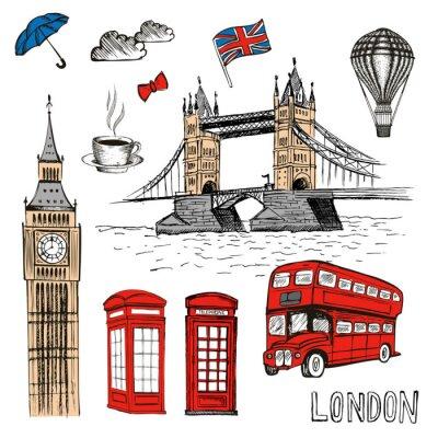 Vinilo Doodles de Londres. Vector dibujado a mano ilustración con símbolos de Londres