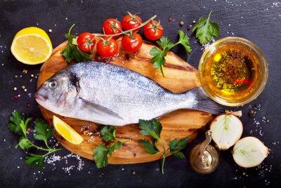 Vinilo Dorado de pescado fresco con verduras