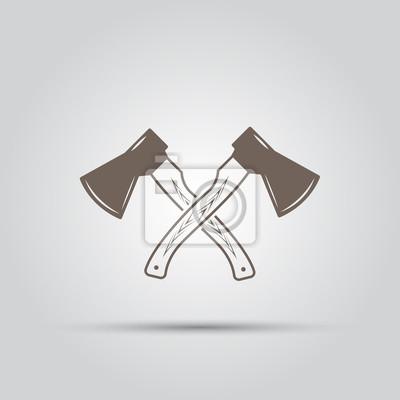 Dos hachas cruzadas aisladas elementos vectoriales vinilos para ...