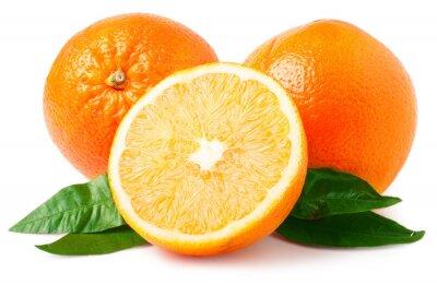 Vinilo Dos naranjas aislados en blanco