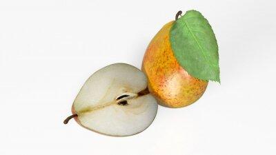 Vinilo Dos peras, una en rodajas por la mitad, frutas aisladas sobre fondo blanco