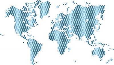 Vinilo Dots mapa del mundo sobre fondo blanco, ilustración vectorial.