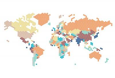 Vinilo Dotted Mapa del mundo de puntos hexagonales