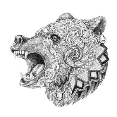Vinilo Dotwork, tatuaje, jefe enfurecido oso