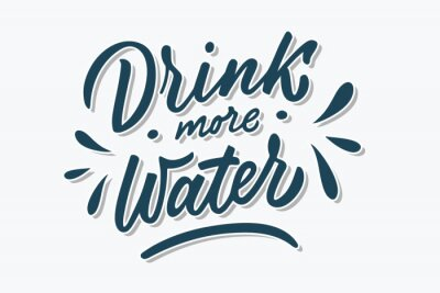 Vinilo Drink more water hand drawn brush lettering phrase. Blue shaded letters on white background. Motivational qoute for invitation, poster, postcard, banner, social media advertising, stickers and cloth