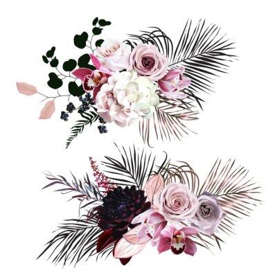 Vinilo Dusty rose, hydrangea, pink cymbidium orchid, berry, bronze, black palm leaves