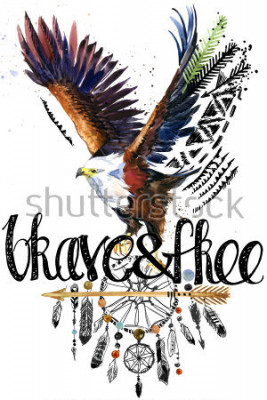 Vinilo eagle. American Indian Chief Headdress. war bonnet. dream catcher background. native american poster. animal illustration. brave and free hand written text.