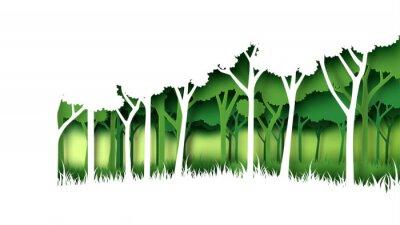 Vinilo Eco, verde, naturaleza, bosque, plano de fondo, template., Bosque, plantación, con, ecología, y, conservación del medio ambiente, creativo, idea, concepto, papel, art.