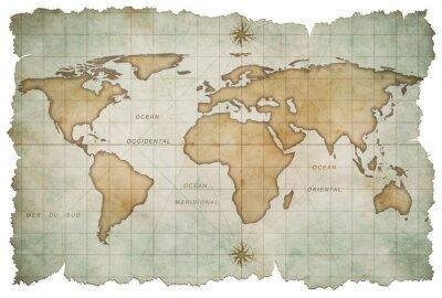 Vinilo edad mapa del mundo aislado en blanco