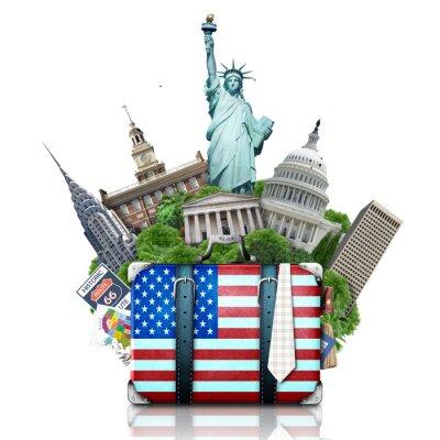 Vinilo EE.UU., hitos EE.UU., maleta y Nueva York