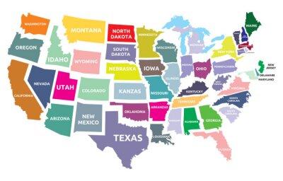 Vinilo EE.UU. mapa con los estados