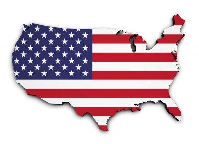 Vinilo EE.UU. Mapa de la bandera 3d Forma