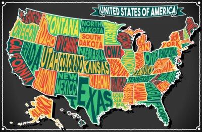 Vinilo EE.UU. Mapa del vintage Pizarra 2D