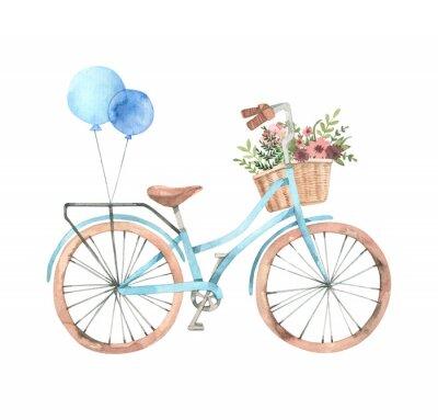 Vinilo Ejemplo dibujado mano de la acuarela - bici romántica con la cesta de la flor en colores en colores pastel. Bicicleta de ciudad. Amsterdam Perfecto para invitaciones, tarjetas de felicitación, posters