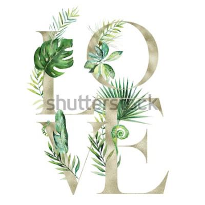 Vinilo Ejemplo floral de la acuarela exótica tropical - AME la bandera del arreglo con las letras de la textura del oro, para casarse inmóvil, saludos, papeles pintados, moda, fondo. Palma, helecho, plátano,