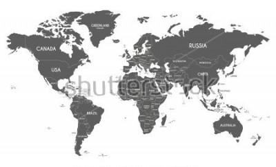 Vinilo Ejemplo político del vector del mapa del mundo aislado en el fondo blanco.