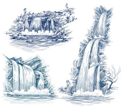 Vinilo El agua cae de dibujo vectorial