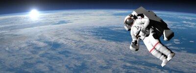Vinilo El astronauta o cosmonauta volar sobre la tierra - 3D render