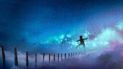 Vinilo el chico equilibrado en palos de madera contra la Vía Láctea con muchas estrellas, estilo de arte digital, pintura de ilustración