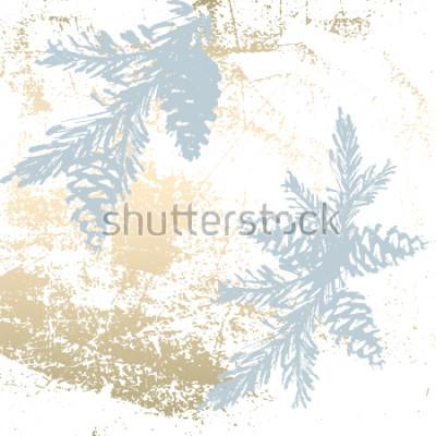 Vinilo El fondo coloreado pastel de moda elegantes formaciones de la hoja de oro y el pintó siluetas del árbol de navidad. Resumen texturas inusuales para fondos de escritorio, tarjetas de felicitación, enca