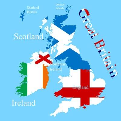 Vinilo El mapa de Gran Bretaña para cada bandera de país