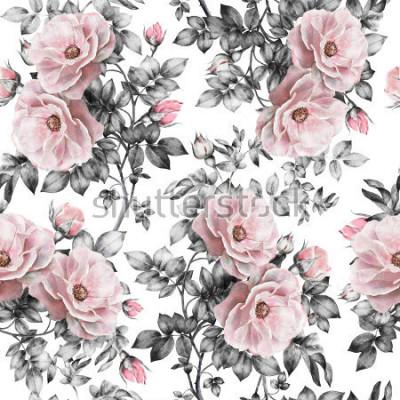 Vinilo El modelo inconsútil con las flores y las hojas rosadas en el fondo blanco, el estampado de flores de la acuarela, la flor subió en color en colores pastel, el modelo de flor inconsútil para el papel