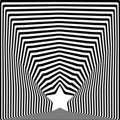 Vinilo El negro de la estrella raya el efecto del arte visual de la ilusión óptica.