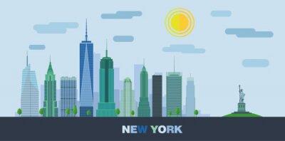 Vinilo El paisaje de rascacielos de la ciudad de Nueva York con la estatua de la libertad. Vector plana ilustración.