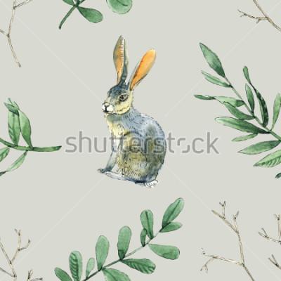 Vinilo El patrón de acuarela sin costuras con conejos, hojas y ramas será bueno para la envoltura de regalos, el diseño de cajas, el sitio y el fondo de tarjetas de felicitación, etc.