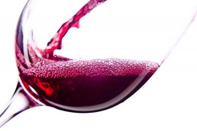 Vinilo El vino rojo sobre fondo blanco