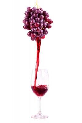 Vinilo El vino tinto con uvas frescas