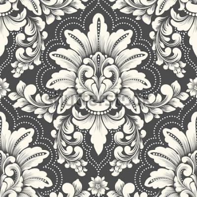 Vinilo Elemento de patrón transparente de Damasco de vector. Adorno de damasco antiguo de lujo clásico, textura perfecta victoriana real para fondos de pantalla, textil, envoltura. Exquisita plantilla barroc