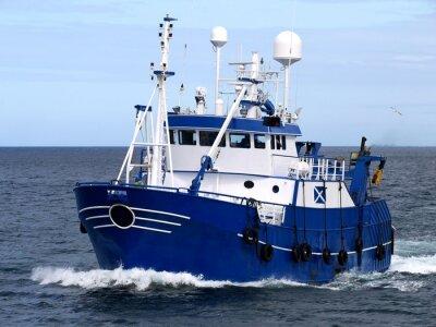 Vinilo Embarcación de pesca 15b, Embarcación de pesca en curso para albergar a los peces de la tierra.