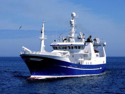 Vinilo Embarcación de pesca P1, Embarcación de pesca en curso para albergar a los peces de la tierra.