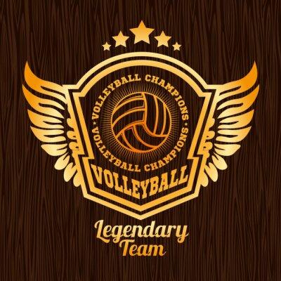 Vinilo Emblema de voleibol de oro en la textura de madera.