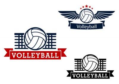 Vinilo Emblemas Voleibol con elementos de juego