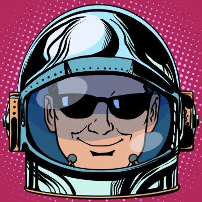 Vinilo Emoticon espía Emoji cara hombre astronauta retro