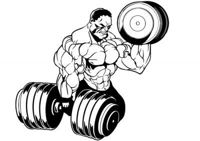 Vinilo entrenamiento culturista musculoso