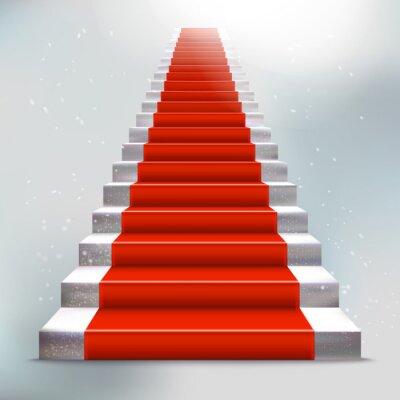 Vinilo Escalera de piedra realista con la alfombra roja y la luz