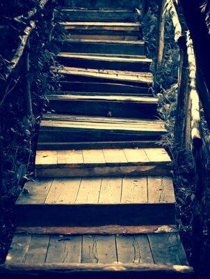 Vinilo Escaleras de madera viejas