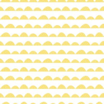 Vinilo Escandinavo patrón amarillo transparente en estilo dibujado a mano. Hileras estilizadas de la colina. Wave patrón simple para tejidos, textiles y ropa de bebé.