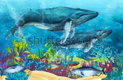 Vinilo Escena de dibujos animados con ballena cerca de los arrecifes de coral - ilustración para niños