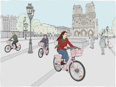 Vinilo Escena de la ciudad de París Una mujer disfruta andar en bicicleta por la ciudad, frente a la famosa Catedral de Notre Dame. Dibujado a mano ilustración.
