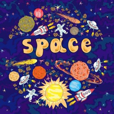 Vinilo Espacio dibujado a mano de la historieta