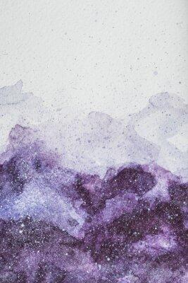 Vinilo Espacio pintura con pintura de acuarela púrpura sobre fondo blanco