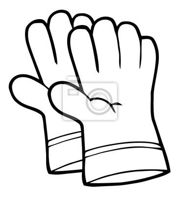 Esquema página para colorear de un par de guantes de jardinería ...