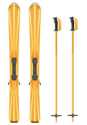 Vinilo esquís ilustración vectorial de montaña